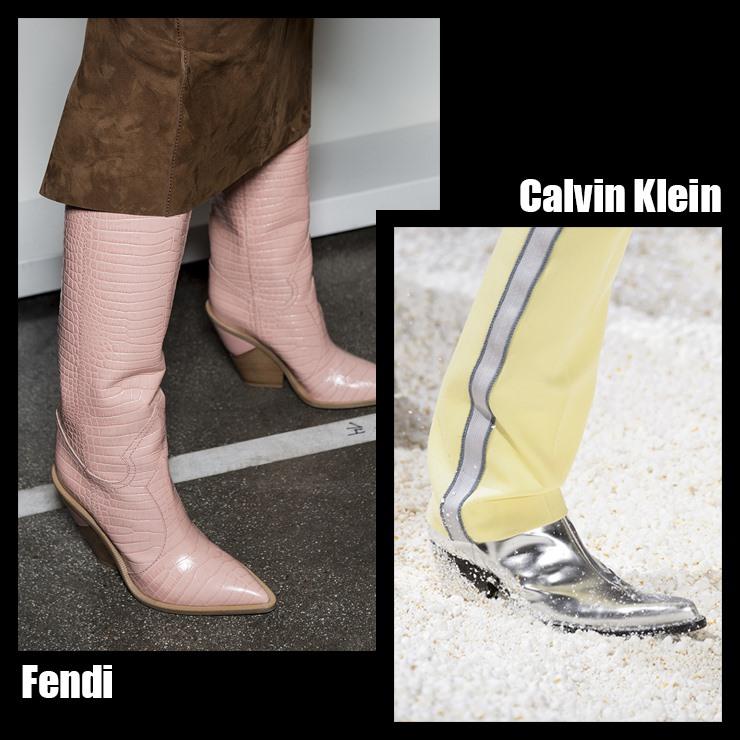 秋冬季到處都可以發現穿五顏六色的牛仔靴,最引人注目的FENDI系列不僅展示了黑與白,還添加了粉紅、藍、黃等多色牛仔靴,顏色鮮豔的牛仔長靴與FENDI的經典復古風形成意外組合,有著獨特的帥氣風格,另外從前幾季前開始一直有牛仔靴元素的Calvin Klein,以金屬銀色長靴展現自然美的休閒風格!