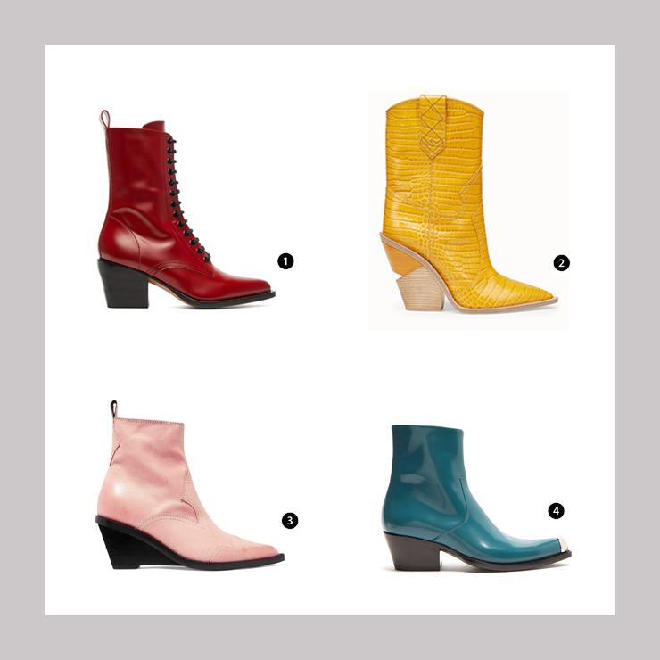 SHOPPING LIST: 1.Chloe綁帶風格的紅色短靴 2.FENDI鱷魚紋黃色長筒靴 3.MM6粉色跟鞋短靴 4.Calvin Klein  205W39NYC 藍色皮靴