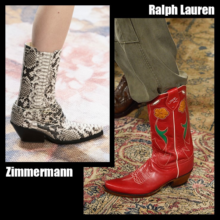 如果想展現個性風可以選擇華麗圖案的牛仔靴,特別是本季流行的動物圖案設計牛仔長靴,只用一件單品製造亮點,此外還有女性花紋裝飾的長統靴或如火模樣般流行圖案的長靴等,都可以做選擇搭配,牛仔靴與民族風的連衣裙也很搭,或選擇寬鬆的褲子,把褲子褲管放進鞋子裡,給人一種更加時尚的感覺!