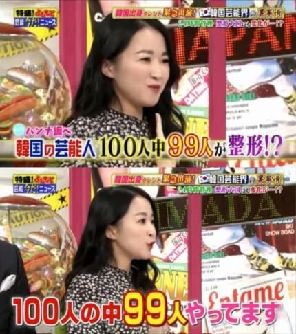 這位名叫姜漢娜的藝人在日本電視節目《特盛!吉本》中爆料「韓國整形風氣盛行,身邊的藝人好友都有整過,大約100個明星中就有99人接受過整形手術,每隔一段時間見到那些朋友,他們的臉都變得不大一樣」