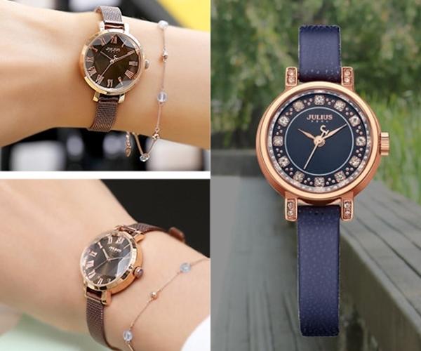 #JULIUS 米蘭風尚立體切割鏡面腕錶&真皮鑲鑽手錶【1+1】:JULIUS算是中低價位的手錶,對學生族群來說是還可以負擔的價位,對上班族來說這根本零頭啊手錶這個價位根本便宜~JULIUS的手錶基本上走充滿女人味的OL風,像是女神挑的這2款就很搭長洋裝或裙裝套裝稍微女性化的裝扮,不算貴的價格對社會新鮮人來說是第一首選。