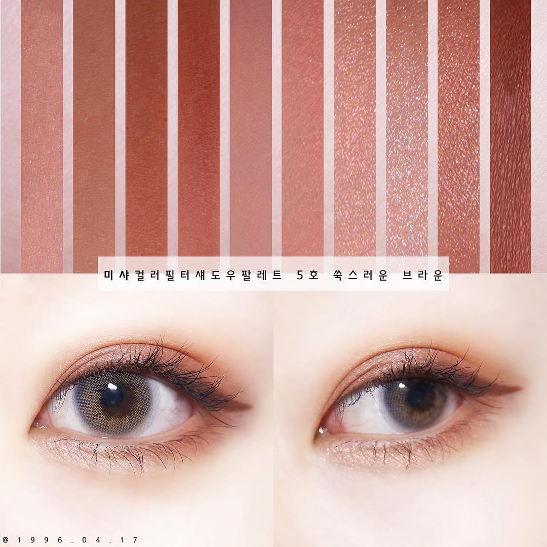 而這次眼影的部分分層兩個色系,一個是以橘棕色為主,每一格的顏色都很實用,根本不會有買了眼影盤後有幾格完全用不到的情況。