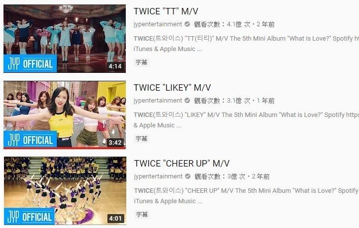 第三個則是剛發行《YES or YES》回歸的TWICE,除了《TT》以及《LIKEY》之外,《CHEER UP》也在4日成為第三支突破三億的MV,恭喜TWICE!