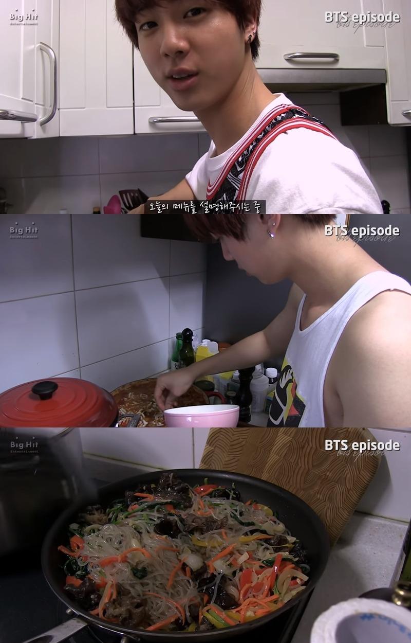 #防彈少年團 Jin 防彈的Jin在V LIVE上有著專屬的「EAT Jin」的吃放節目,另外在防彈的幕後花絮中也不時地可以看到Jin在廚房大展身手的畫面,連韓國主婦們都說難做的「雜菜」,Jin做出來的味道可是有團員保證好吃的!