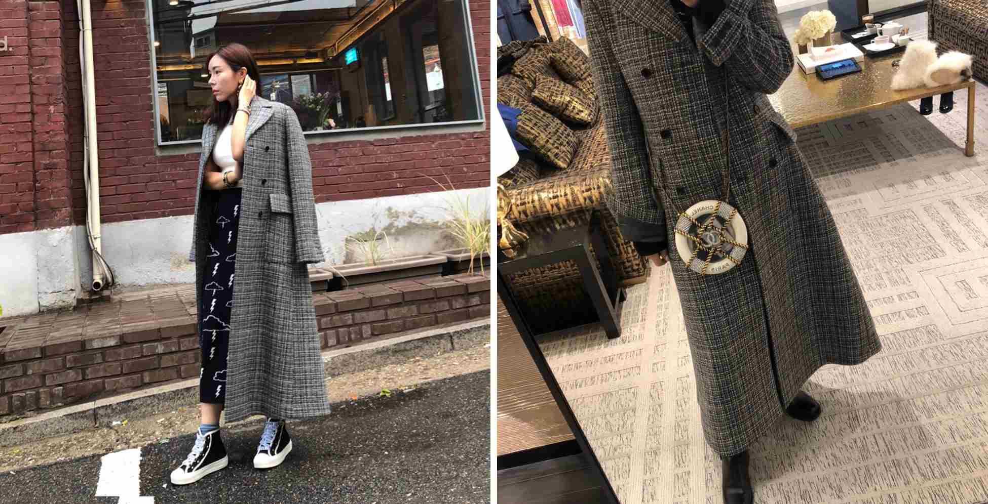 知道最近在SNS中掀起熱潮的大衣是什麼嗎,本季表現最搶眼的外套就是格子圖案和長至腳踝的大衣,各種在長大衣中,突出明星時尚的大衣就是時裝設計師李珠熙(@aav_chloelee)引領的Harris Tweed 大衣,channel或Thom Browne等名牌產品使用的100% Harris Tweed材料是其特點,其柔和的顏色和細緻的格子圖案既不會過度複雜又表現出與衆不同的輪廓。