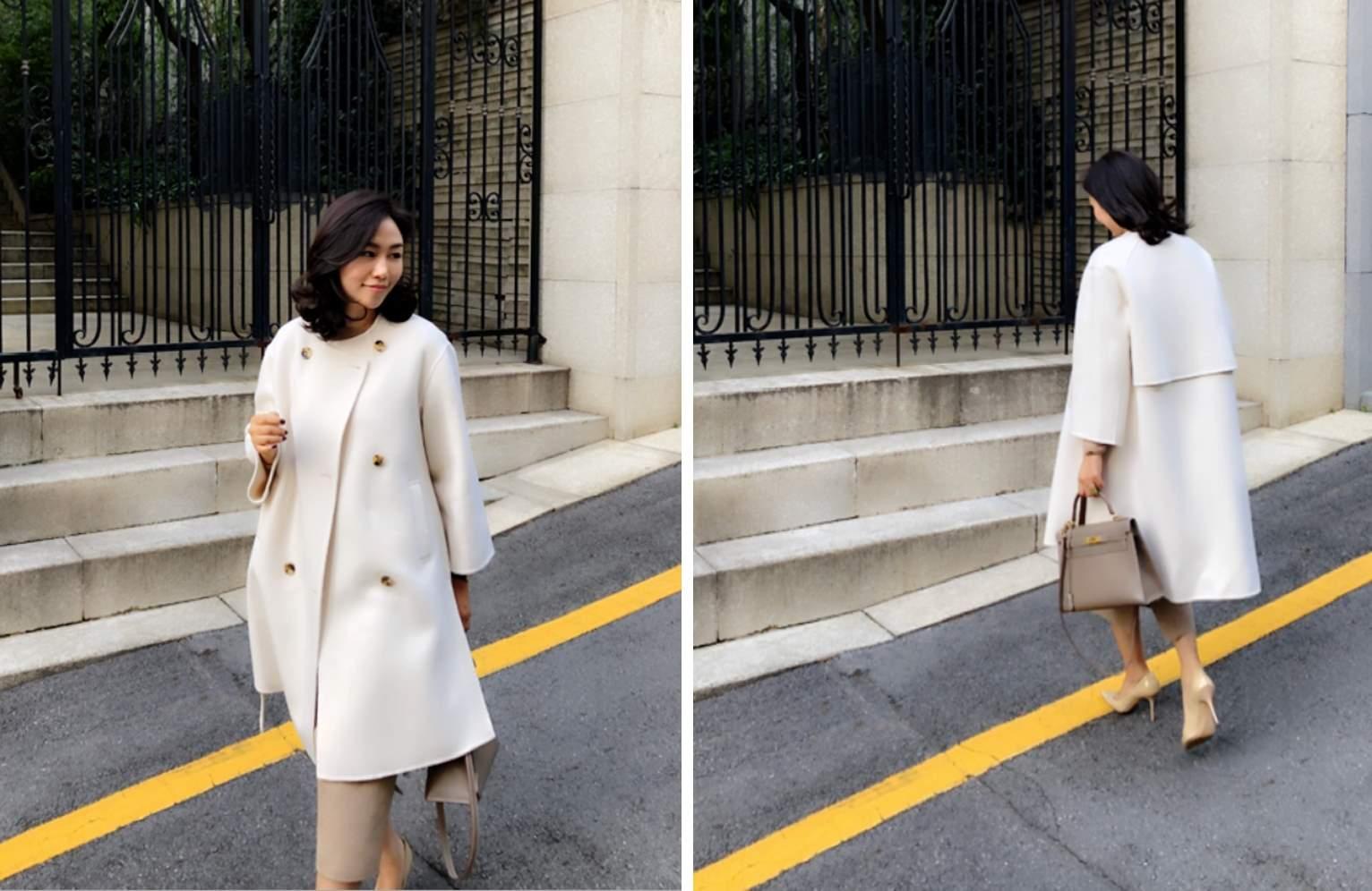 如果對最近流行的oversize大衣沒有興趣,或是每次穿外套會比較注重內搭的話,可以參考看看崔英美(@elegance_choi)的白色A字型外套,就如她的綽號elegance_choi 一般優雅,經典的裝扮,被人稱爲韓國Jacqueline Kennedy的她,設計外套的特點是簡約的線條、凹凸的側開叉和簡潔的立領,如果像開衫一樣披上,則可以展現出幹練的感覺,扣上扣子的話,也就不用煩惱內搭了 !
