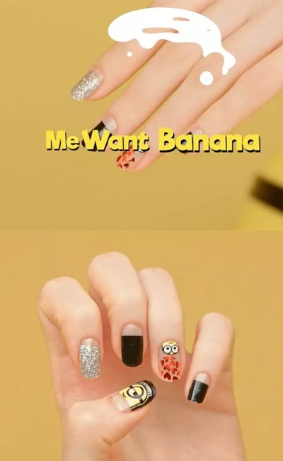 Me want banana(小兵語:我餓了)  這款呢,則是讓小小兵套上監獄服,以黑色為主色,搭配銀色亮片、紅色愛心和小小的香蕉,即使只是指彩,也給人小兵們被餓很久一直吵鬧的調皮之感(?)