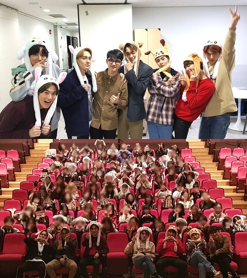 出席簽名會時粉絲與成員更是戴上動物帽一起拍照也形成特別的畫面,在11日《人氣歌謠》錄製後,成員也特地開了V LIVE直播與EXO-L們互動