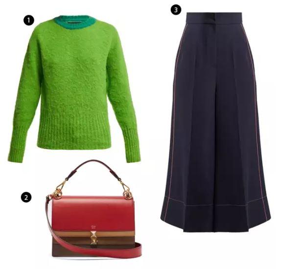 Shopping List: 1、La Fetiche 調色針織上衣 |  2、FENDI 皮質肩背手提包 |  3、Roksanda 縫線西裝寬褲 |