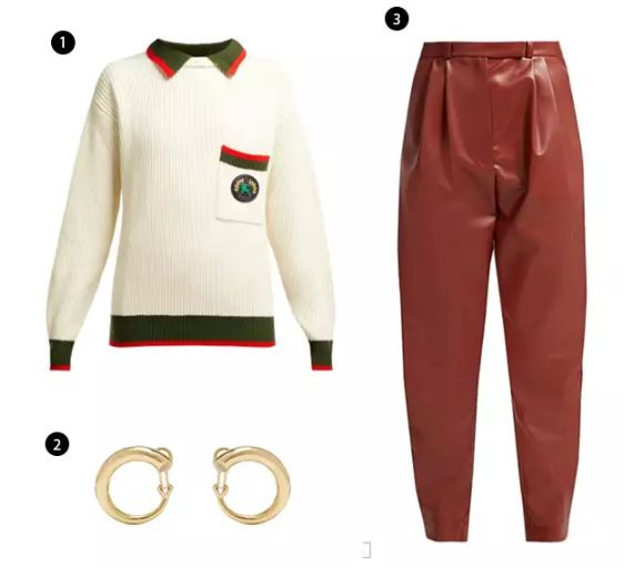 Shopping List: 1、BURBERRY 學院風針織上衣 |  2、CHARLOTTE CHESNAIS 迷你size耳環 |  3、A.W.A.K.E. 紅棕色皮褲 |