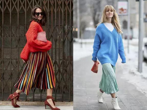 3、優雅氣質的百褶長裙 |  當針織遇上百褶長裙,這又美又舒適的穿搭讓妳光是走路都心情很好!這個組合就是最好凸顯女性魅力的秋冬造型,溫暖、柔軟、優雅還輕飄飄,把衣服紮進去看起來更有精神更輕快,但衣服不紮也能有慵懶、清純的另一種美,總之搭上柔順的百褶長裙不太會出錯,但在首飾的選擇則可以找較簡約、俐落的配件,平衡掉過多的柔和。