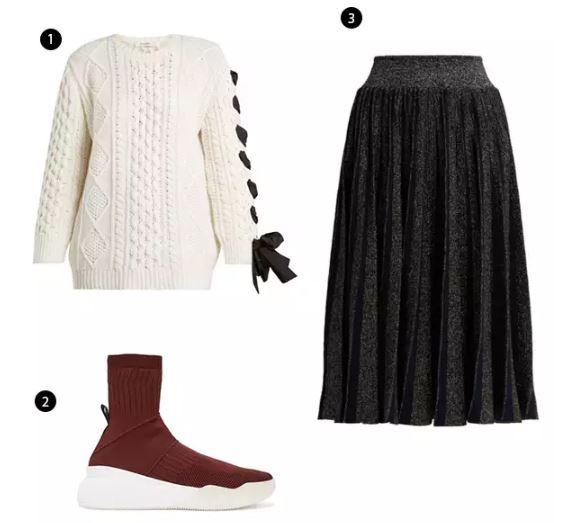 Shopping List: 1、Valentino 緞帶針織上衣 |  2、STELLA MCCARTNEY 襪套鞋 |  3、Sportmax 閃閃黑百褶長裙 |
