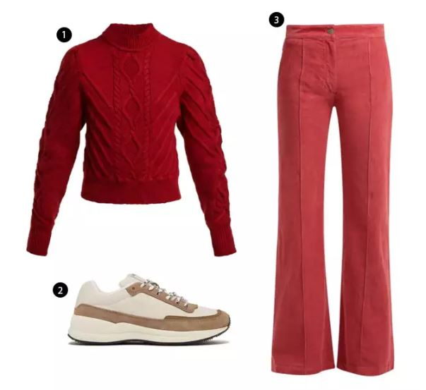 Shopping List: 1、ISABEL MARANT 紅針織上衣 |  2、A.P.C. 大地色系運動鞋 |  3、MASSCOB 貼身燈芯絨喇叭褲 |