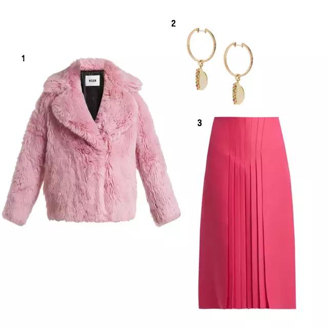 SHOPPING ITEM 1、MSGM 柔和粉毛皮外套 2、Valentino Hot Pink百褶裙 3、Aron&Hirsch 耳環