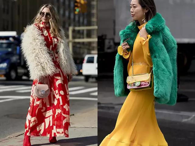 〝短版與長裙是絕配!〞 想強調毛皮外套獨有的華麗氣質的話,長裙是再好不過的選擇!描繪出身體曲線的連身長裙加上毛皮外套的柔和感,就能打造出仙女般的優雅氛圍啊!如果外套顏色較為溫和的話,可以大膽選擇有大圖案的連衣裙,更能成為焦點喔!