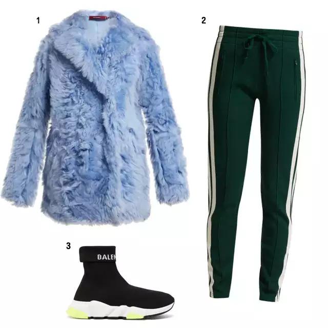 SHOPPING LIST 1、RED Valentino 淡藍色毛皮外套 2、Bally 慢跑褲 3、Balenciaga 運動鞋