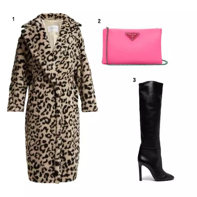 SHOPPING LIST 1、Max Mara 豹紋外套 2、PRADA 螢光色小包 3、SAINT LAURENT 黑色長靴