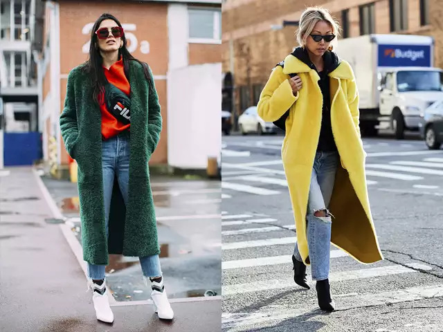 〝彩色外套還是選短款的吧!〞 一件就能噴發強烈存在感的彩色毛皮大衣一定要放進購物清單無誤啊! 色彩的部份已經很搶眼了,但如果毛皮的面積太大的話,是很容易有負擔感的,所以盡量選擇短款的設計才能提高實穿性! 像是剪羊毛大衣或羊皮外套等休閒風格的款式就是推薦款!