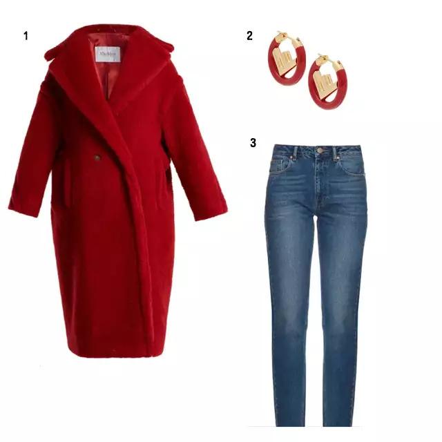 SHOPPING LIST 1、Max Mara 鮮紅色長版大衣 2、FENDI 紅色耳環 3、DAMRAY 基本款牛仔褲