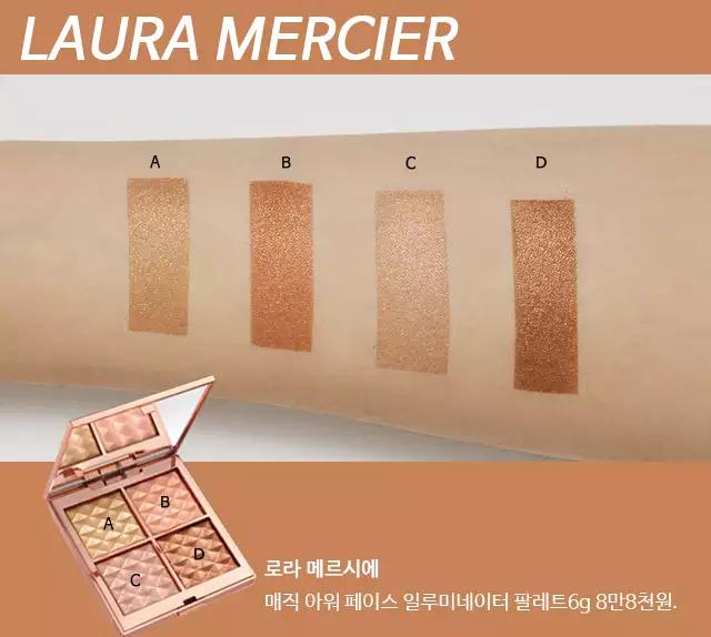 〝閃閃發亮的收尾!多功能高光〞  Laura Mercier Magic Hour Face Illuminator Palette  這是一款質地柔軟的珠光高光盤,不僅服貼度佳,還會為皮膚增加自然的光澤。 以金色、香檳粉、玫瑰金及琥珀棕組成的多功能高光盤,不只能打亮,也可以做為眼影使用。 在妝容的最後用來打亮或是在上眼皮中央輕拍作結,即使不用厚重的眼線或誇張的修容,也能救活平淡的五官喔!