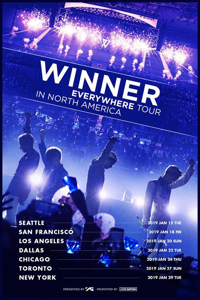 你沒看錯!即將結束亞洲巡演的WINNER明年1月要到美國進行巡迴了!他們將會在北美7個城市進行演出,想必大家聽到這個消息真的很替溫拿感到開心吧இдஇ
