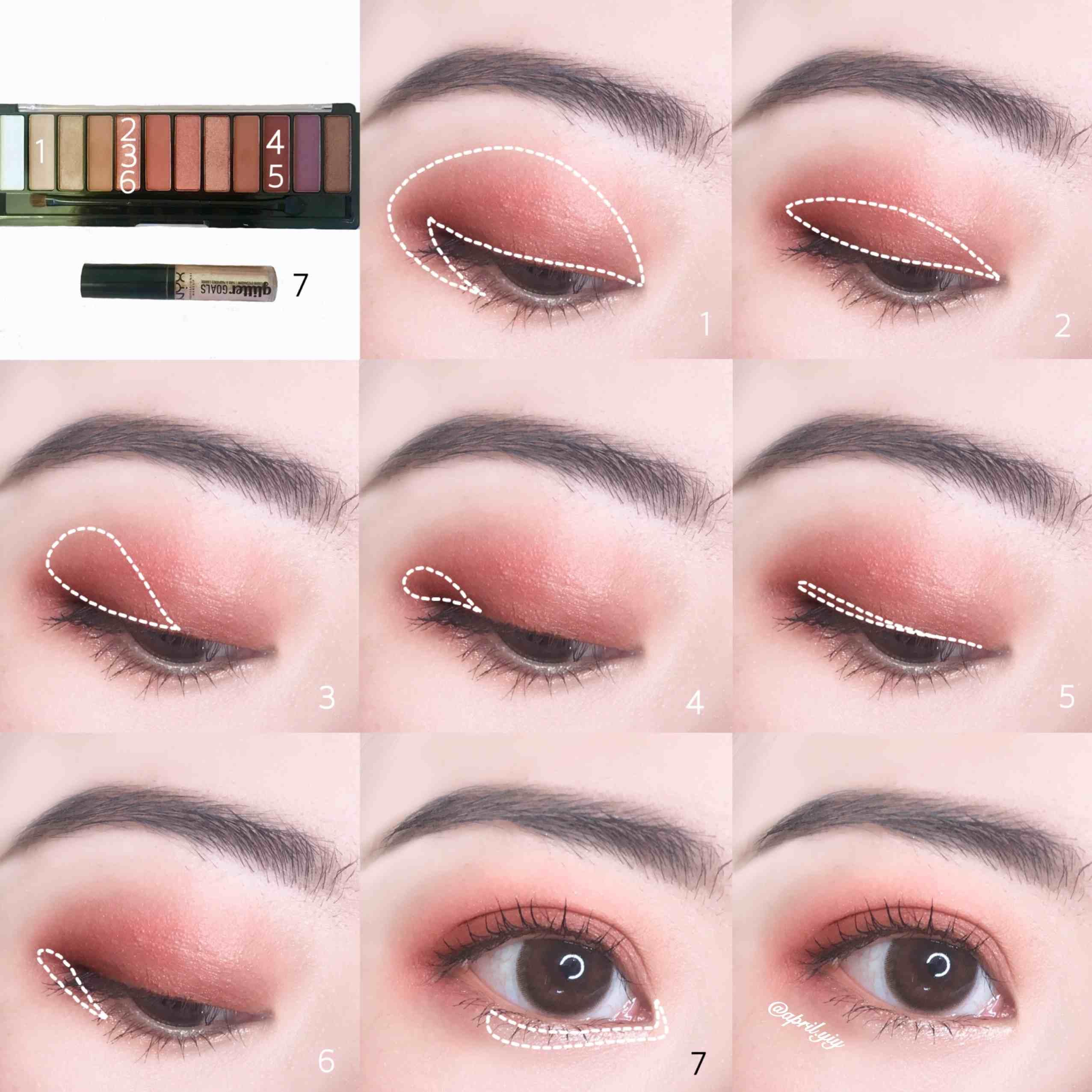 1. 先使用比自己膚色再深一些些的眼影做眼窩的打底,加強眼睛輪廓的深邃度 2. 使用帶有珠光的粉色或是深粉色化在眼摺的位置,之後再向上暈染一些些,讓整體顏色更加自然 3. 沾取一樣的粉色加深眼皮後半部,製造漸層感 4. 使用偏紅的深棕色加深眼尾 5. 使用同一個深棕色上在睫毛根部 6. 使用同一個粉色上在眼下後1/3的位置