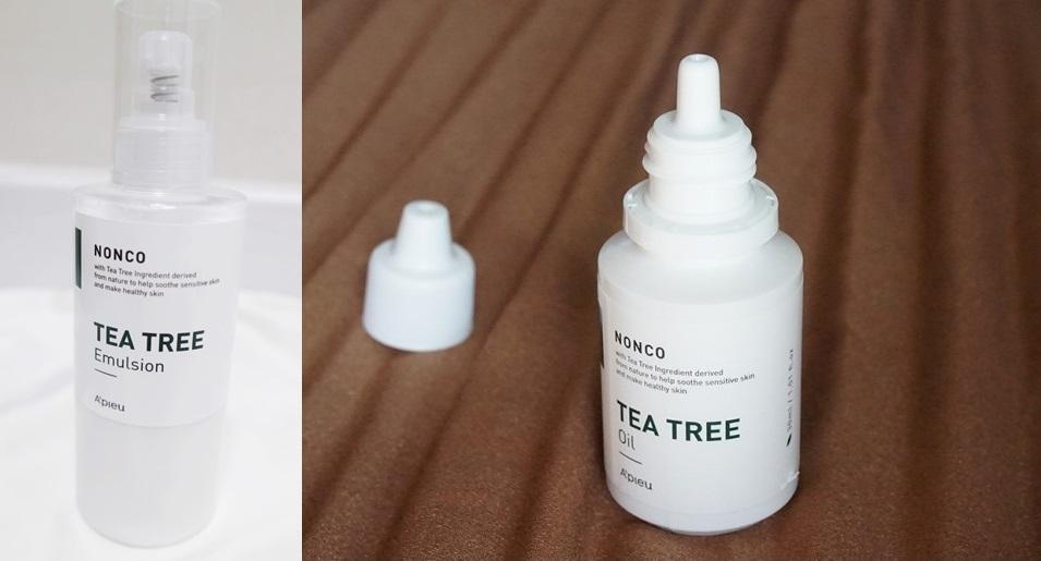 #A'PIEU 茶樹精華乳液&茶樹精華精油:茶樹精油有平衡油脂分泌,同時舒緩敏感肌的功能,適合油肌、正值青春期的同學,或是有粉刺和暗瘡等問題性肌膚的人都可以使用。通常市售的茶樹精油%數較高、少少幾ml價錢也十分昂貴,但A'PIEU推出的這款茶樹精油相較之下就便宜了超~級~多~而且這款茶樹精油的%數較低,不會有使用後灼傷或是引起爆痘的問題,在家使用也很安全!