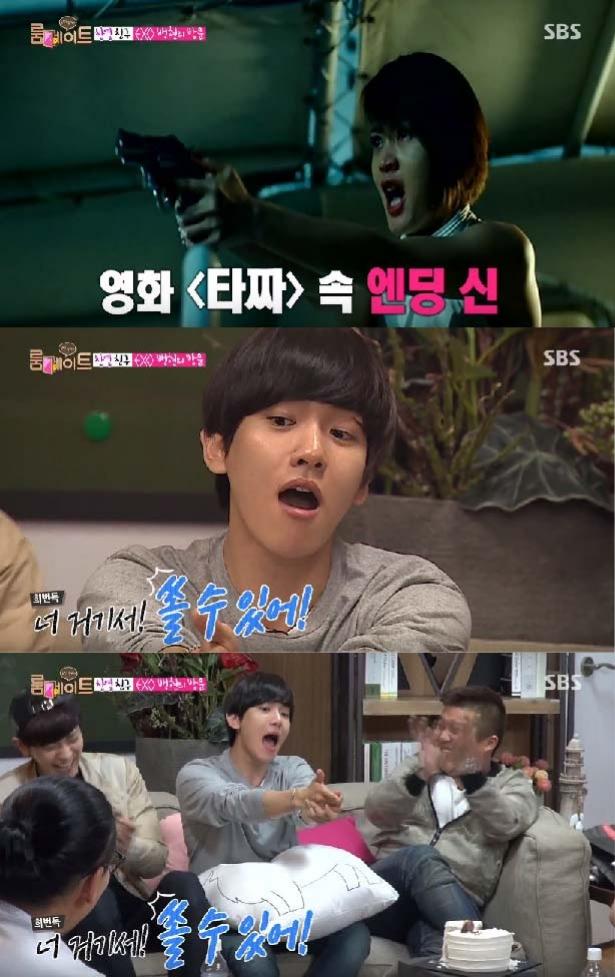 3.電影《老千》金惠秀經典台詞 在韓國超火紅的一段戲~「我真的會開槍喔!我要真的開槍!」XDDDD伯賢是第一個模仿這段戲的男生ㅋㅋㅋㅋ真的會笑死~旁邊的燦烈笑到不行~