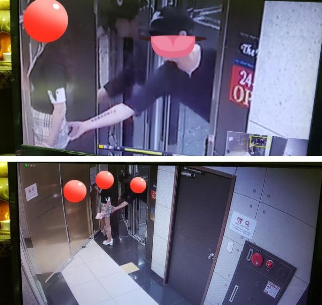 和PO文一起公開的監視器影像截圖上可以看見,這位戴帽子的男子正伸手往穿著裙子的女性的臀部摸去。(真的太噁了)