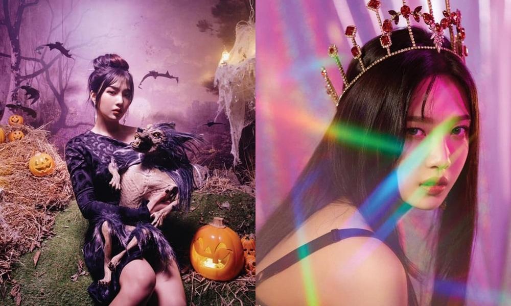 第2個公布概念照的JOY的髮色變化就比較明顯了,照片上可以看到左邊是紫髮JOY魔女(?),右邊則是黑髮JOY公主,出道以來JOY都嘗試較大膽的髮色,像是之前染過的大紅色,但JOY都能完美的消化呢!只能說JOY染什麼都適合啦!