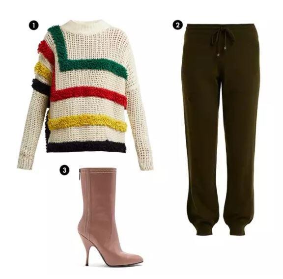 Shopping List: 1、SPENCER VLADIMIR 色彩針織衫  2、RAY 針織毛質運動褲 3、BOTTEGA VENETA 柔粉高跟低筒靴