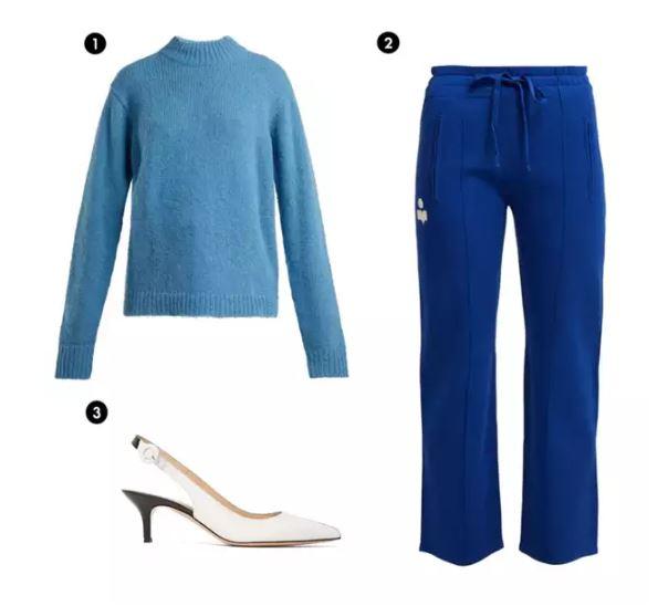 Shopping List: 1、Tibi 天藍色針織上衣  2、Isabel Marant 藍色運動褲 3、GIANVITO ROSSI 極簡白色細跟鞋