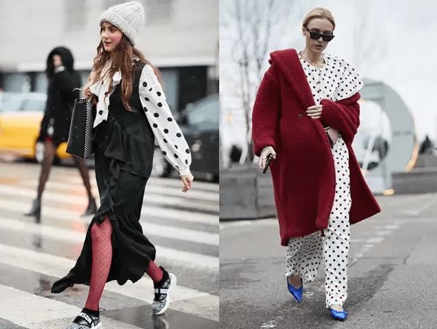 『圓點內襯+外衣= 復古冬感 』   以白色為基本底色,加上黑色圓點,可同時兼俱時尚、優雅、俏皮的感覺。與春、夏、秋季不同,冬天可以以圓點衣作為內襯,加上外衣、大衣與配飾,一方面在穿搭上有多層次的觀感,另一方面也展現復古韻味。選擇窄版、剪裁俐落的圓點褲更能展現女人味。