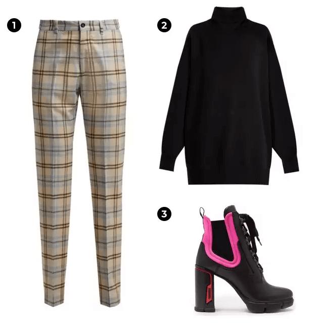 1.Connolly 棋盤格褲。 2.Ray 黑色高領衣。 3.PRADA 霓虹高跟鞋。