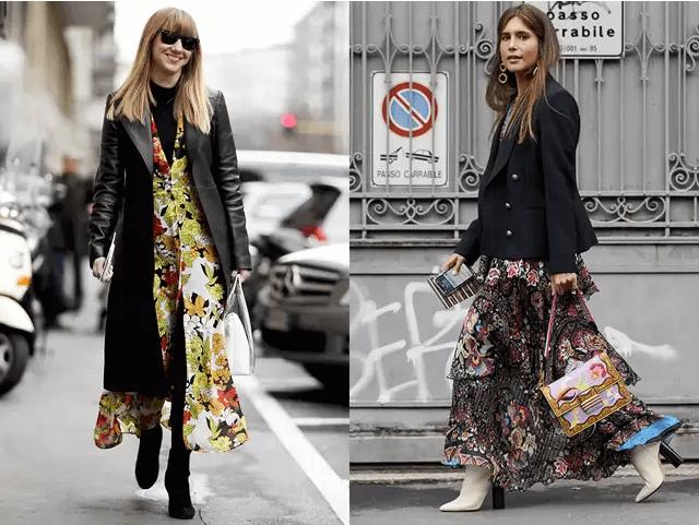 『碎花連身裙+黑外套=浪漫巴黎人』  若覺得黑色夾克略顯單調,可以試試在裡面加件春夏季穿過的碎花連身裙。不論是合身夾克或是大衣,與碎花連身裙的結合都能毫無突兀感的呈現完美混搭風格。若想展現隨性風格,搭配運動鞋或一般便鞋即可。而若想有和巴黎人一樣的高冷感,可選擇能夠完美展現腿部線條的尖頭短靴。