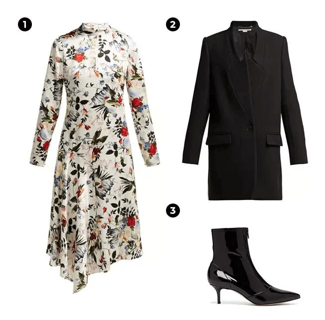 1.Erdem 碎花連身裙。 2.Stella McCartney 黑色大衣。 3.Gianvito Rossi 高跟靴。