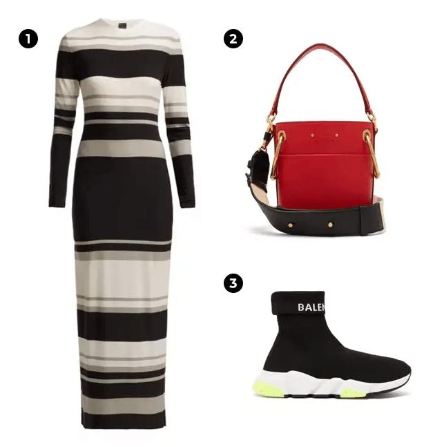 1.NORMA KAMALI 條紋連身裙。 2.Chloé 紅色水桶包。 3.Belenciaga 運動鞋。