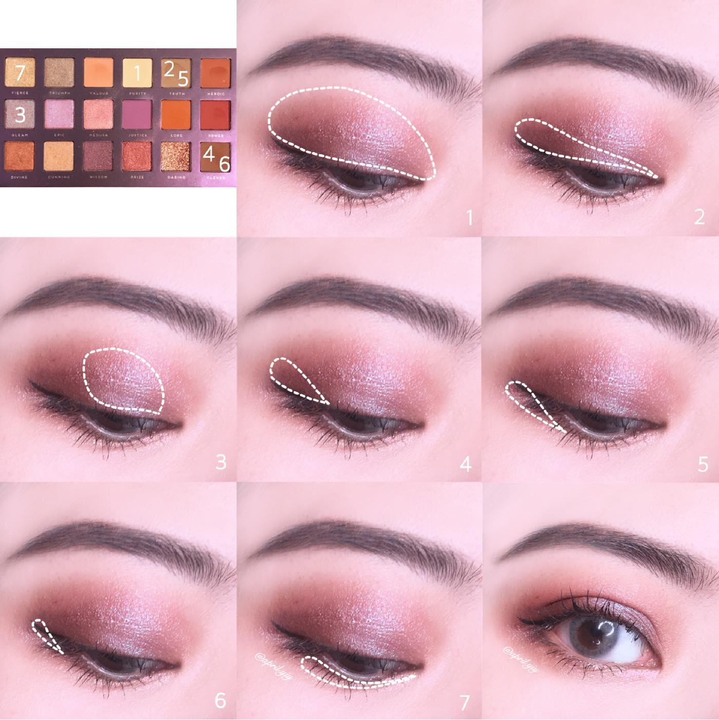 這個眼妝用到的是Badhabit的Athena眼影盤: 1. 使用淺膚色稍作眼皮打底,均勻眼皮膚色讓之後的眼影更加顯色 2. 使用淺咖色加深眼皮折線處以下的範圍 3. 使用偏光灰紫色上在眼皮中央 4. 使用深咖啡色加深眼尾ㄑ字 5. 使用淺咖色尚在眼下後1/3的位置 6. 用同3的深咖啡色上加深眼下後1/3的位置,範圍比前一個步驟的在縮小一些 7. 使用金色上在眼下前2/3