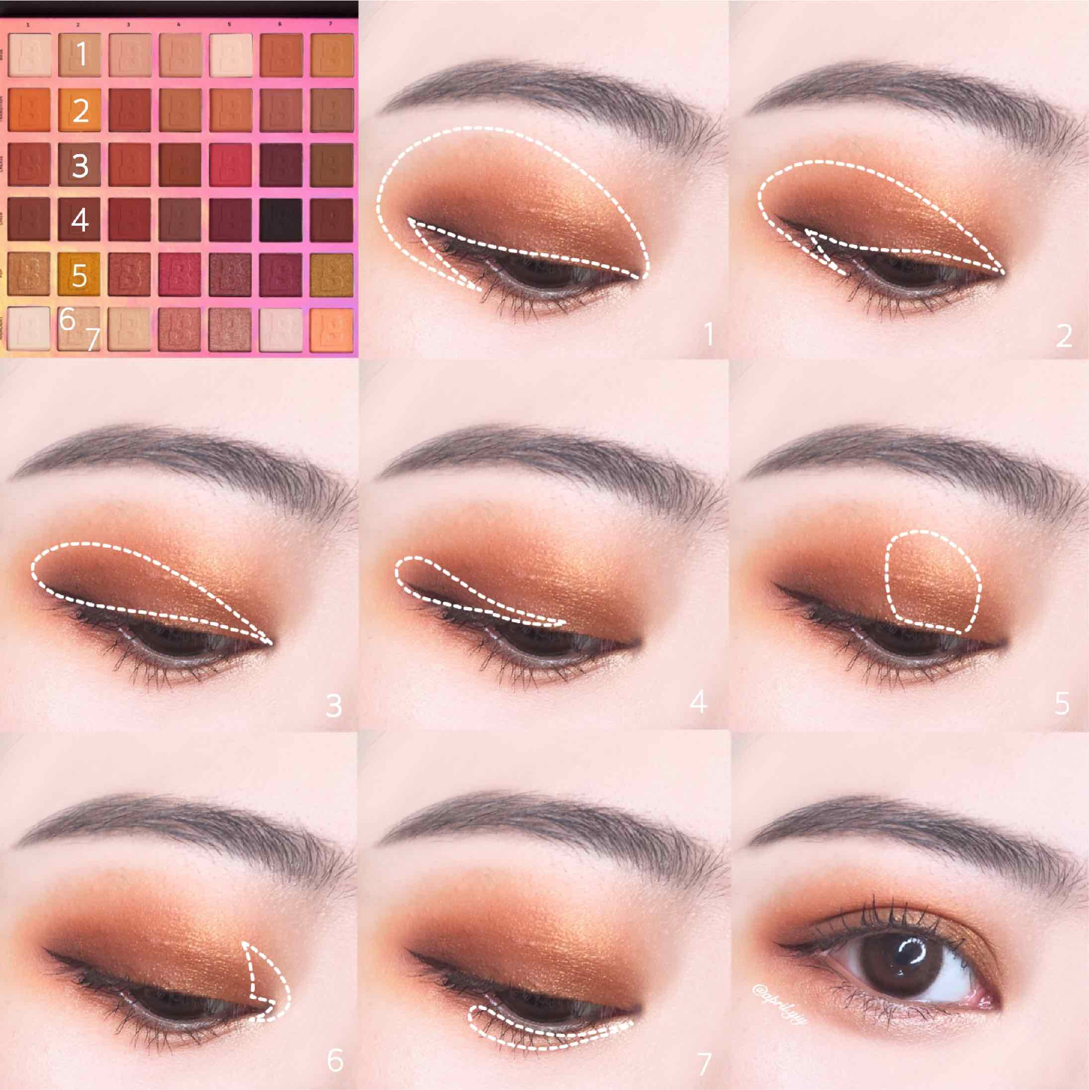 眼妝需要的彩妝商品有眼影及眼線 1. 使用淺膚色稍作眼皮打底,均勻眼皮膚色讓之後的眼影更加顯色 2. 使用橘色作為眼窩底色 3. 使用淺咖啡色上在眼皮折線處以下的範圍 4. 使用深咖色加深眼尾及睫毛根部讓眼睛更加有神 5. 使用淺金色上在眼皮中央,增加眼妝立體感 6. 使用膚金色打亮眼頭 7. 用同6的膚金色上在眼下臥蟬處 最後上個基本的眼線就完成拉!