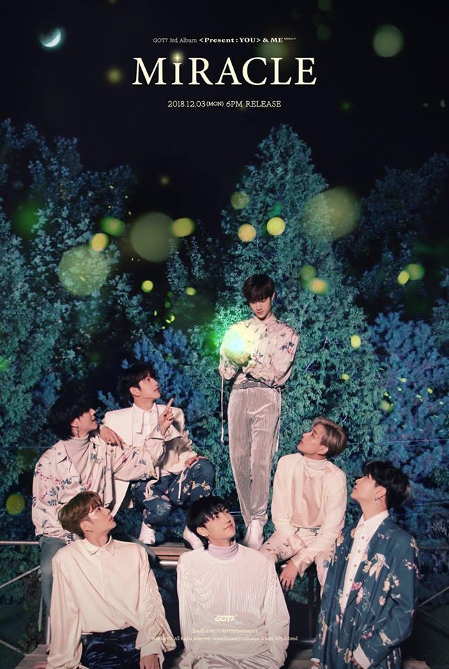 12月3日 GOT7 今年第三次回歸的GOT7,將於12月3日帶著正規三輯後續曲《Present : YOU》&ME再次和粉絲們見面,延續前一張的主題「對GOT7來說最棒的禮物是粉絲」再加上ME,主打曲《Miracle》是首感謝粉絲們的「Fan Song」,對於GOT7來說,真正的奇蹟是見到粉絲的瞬間。