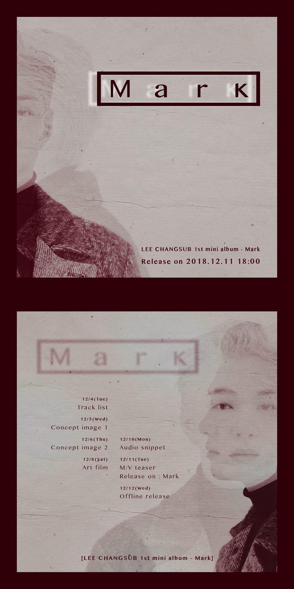 12月11日 李昌燮 BTOB成員李昌燮也將發行首張個人專輯《Mark》,雖然經常看到他搞笑的樣子,唱起歌來卻是深情十足!公開的預告中,復古風格的照片讓人更好奇李昌燮的新曲!