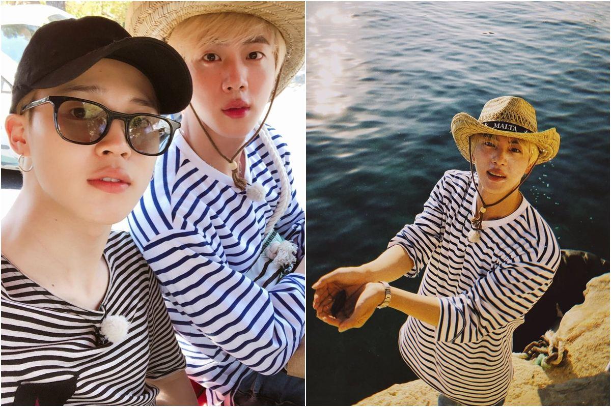 Jimin放上最近一起去旅遊的自拍照片,兩人還穿上條紋CP裝,有帥氣合照當然也會有搞笑版啦!