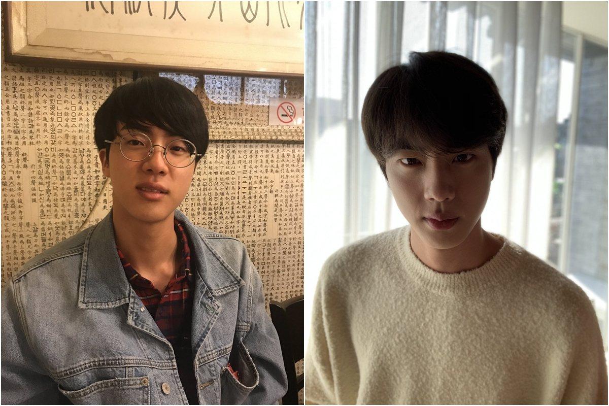 接下來看到J-Hope上傳的2張照片寫下「很強烈吧Jin!生日快樂!」放上帥照之外還附加一張Jin帶著眼鏡像是讀書型學生的照片,完全衝擊大家的視覺阿~