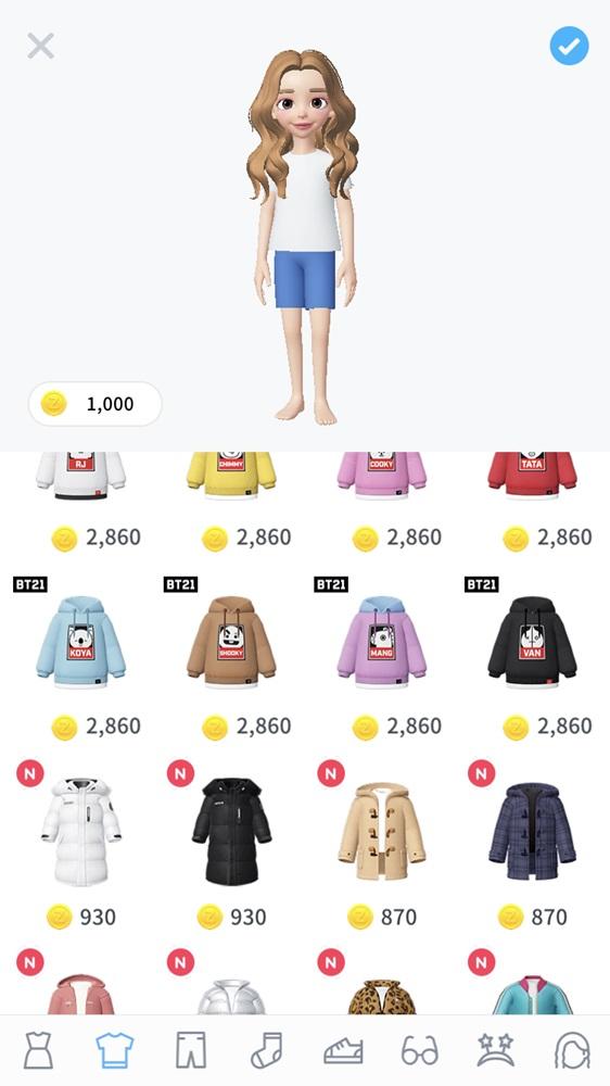 點進去之後有不同的服裝可以挑選,但是大部分的服裝都是需要有遊戲幣才能購買,但是大家也不用擔心,ZEPETO常常有方法可以得到免費的遊戲幣。
