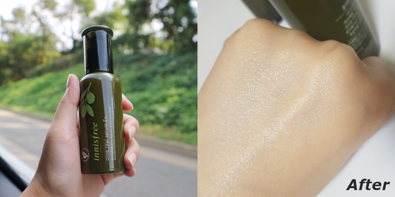 #innisfree 橄欖真萃保濕精華 Ex.:秋冬追求更多水潤感的人,就可以再化妝水、乳液後,再加上這款保濕精華~這款保濕精華的質地是偏奶油的水潤乳液質地,使用後吸收速度超快XDD 幾乎是塗開後就馬上被肌膚吸收,只能看到肌膚像是罩上一層薄紗般的光澤感。