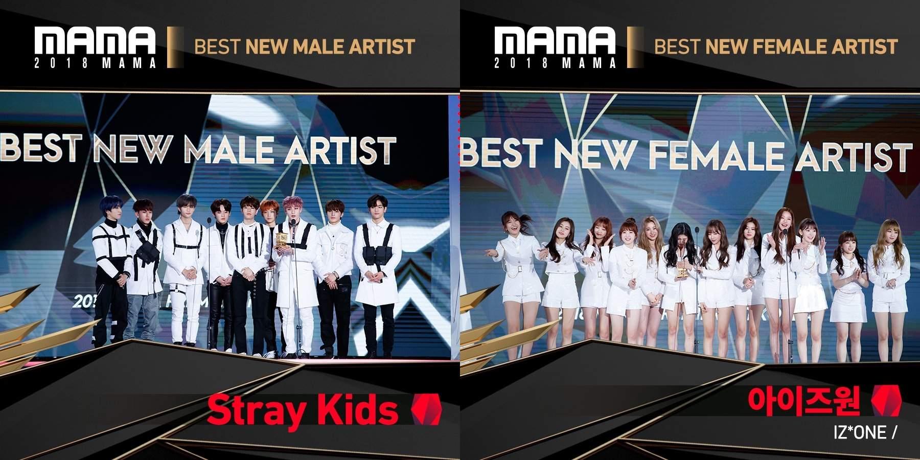 韓國場頒發了粉絲們最期待的獎項之一「年度新人獎」,不負眾望分別由Stray Kids、IZ*ONE拿下,而防彈少年團的幕後組也在當天奪得四個獎項,特別的是「最佳 MV 導演」是頒給了為張惠妹拍攝《身後》MV的台灣導演羅景壬。