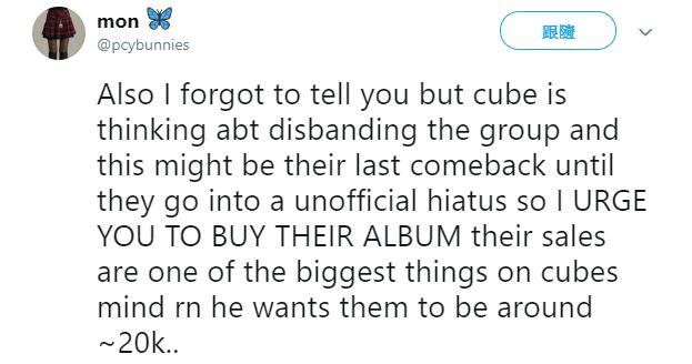 這位網友自稱是CLC這次回歸MV的工作人員,根據他的推文表示「如果CLC這次1月的回歸專輯銷量沒有到達2萬張的話,Cube有可能將她們解散,所以各位一定要去購買這次1月回歸的專輯」