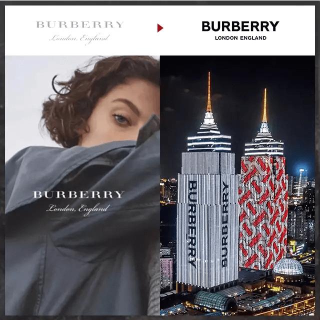 『20年間的變化,BURBERRY的新面貌』  更換LOGO的品牌中,最受矚目的非BURBERRY莫屬。加入BUBERRY後第一次公開設計系列的Riccardo Tisci不只更換了品牌LOGO,也更換新的品牌圖案。圖案的設計靈感來自品牌創辦人Thomas Burberry,將T與B兩個字母交錯,以棋盤格式的風格呈現。在倫敦、紐約、首爾、香港等大都市建築的數位電視牆上,都可以清楚的看見此新圖像。