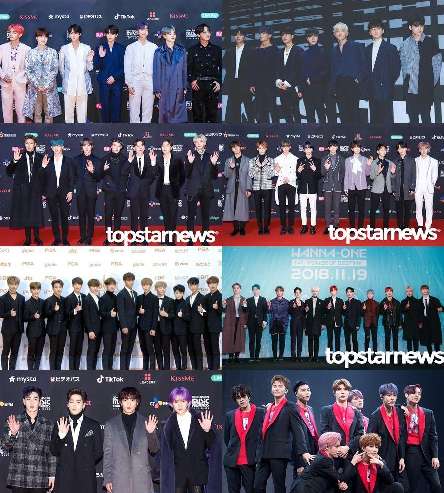 男團的部分包括防彈少年團、iKON、MONSTA X、Stray Kids、SEVENTEEN、Wanna One、NUEST W、NCT127,其中 Wanna One 則是最後一次以完全體參加的頒獎典禮,也讓粉絲相當惋惜