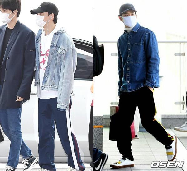 3、牛仔外套+運動褲: 另外,除了黑褲這個選擇,牛仔外套+運動褲的搭配方式也是EXO私服穿搭裡的常備軍!記得再加頂深色棒球帽,站在他們旁邊完全不違和啊~(口罩就免了會太overㅋㅋㅋㅋ)